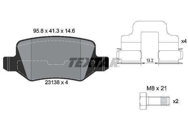 TEXTAR  2313805 Bremsbelagsatz, Scheibenbremse Breite: 95,8mm, Höhe: 41,3mm, Dicke/Stärke: 14,6mm