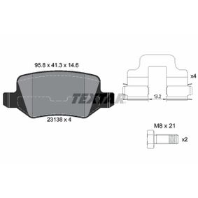 Brake Pad Set, disc brake Width: 95,8mm, Height: 41,3mm, Thickness: 14,6mm with OEM Number A16 942 00 420
