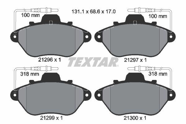 TEXTAR  2129603 Bremsbelagsatz, Scheibenbremse Breite: 131,1mm, Höhe: 68,6mm, Dicke/Stärke: 17mm