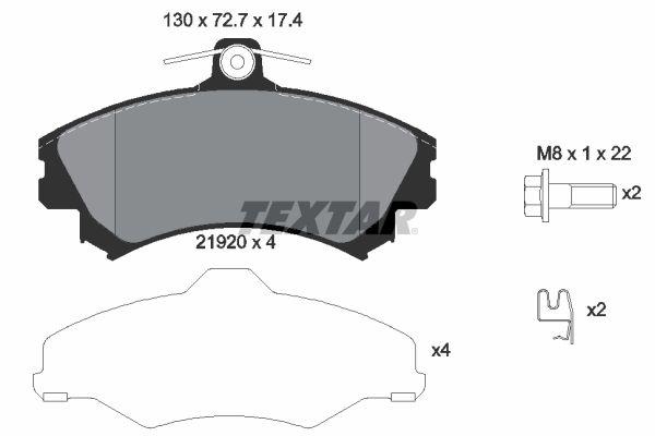 TEXTAR  2192003 Bremsbelagsatz, Scheibenbremse Breite: 130mm, Höhe: 72,7mm, Dicke/Stärke: 17,4mm
