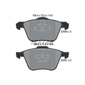 Bremsbelagsatz, Scheibenbremse Breite 1: 155,4mm, Breite 2: 156,5mm, Höhe 1: 72,2mm, Höhe 2: 71,2mm, Dicke/Stärke: 19mm mit OEM-Nummer 3079323-1