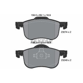 Brake Pad Set, disc brake Width 1: 156,5mm, Width 2 [mm]: 155,3mm, Height 1: 69,1mm, Height 2: 72,5mm, Thickness: 18,9mm with OEM Number 3126250-3