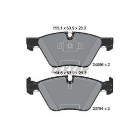 Bremsbelagsatz, Scheibenbremse Breite 1: 155,1mm, Breite 2: 154,6mm, Höhe: 63,9mm, Dicke/Stärke: 20,3mm mit OEM-Nummer 3411 6 777 772