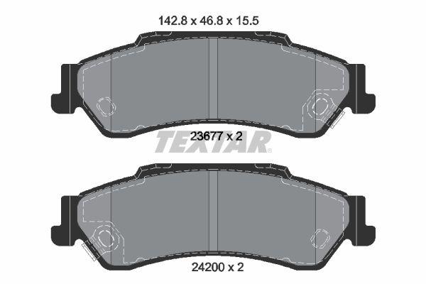 TEXTAR  2367701 Bremsbelagsatz, Scheibenbremse Breite: 142,8mm, Höhe: 46,8mm, Dicke/Stärke: 15,5mm