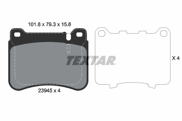TEXTAR  2394501 Bremsbelagsatz, Scheibenbremse Breite: 101,8mm, Höhe: 79,3mm, Dicke/Stärke: 16,5mm