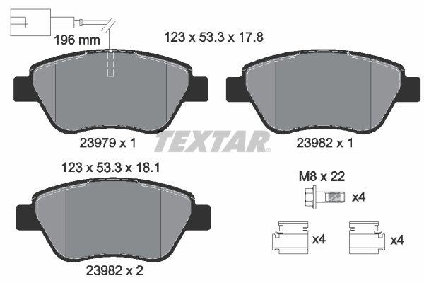 TEXTAR  2397901 Bremsbelagsatz, Scheibenbremse Breite: 123mm, Höhe: 53,3mm, Dicke/Stärke: 17,8mm