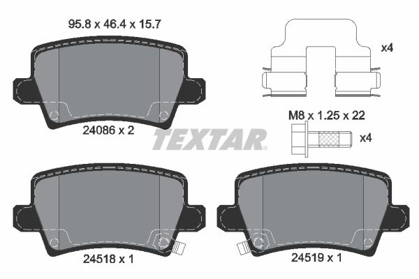 TEXTAR  2408601 Bremsbelagsatz, Scheibenbremse Breite: 95,8mm, Höhe: 46,4mm, Dicke/Stärke: 15,7mm