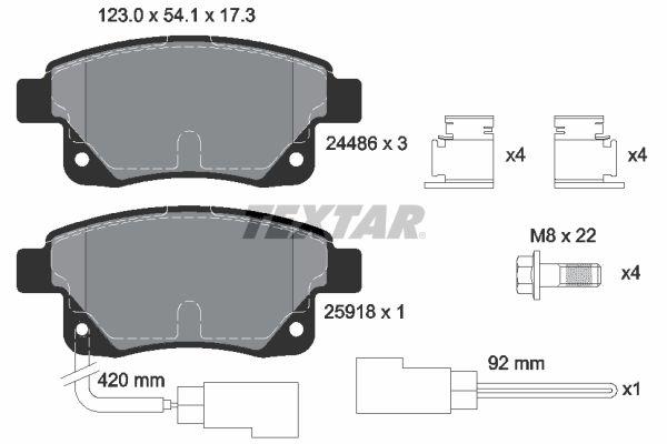 TEXTAR  2448601 Bremsbelagsatz, Scheibenbremse Breite: 123mm, Höhe: 54,1mm, Dicke/Stärke: 17,3mm