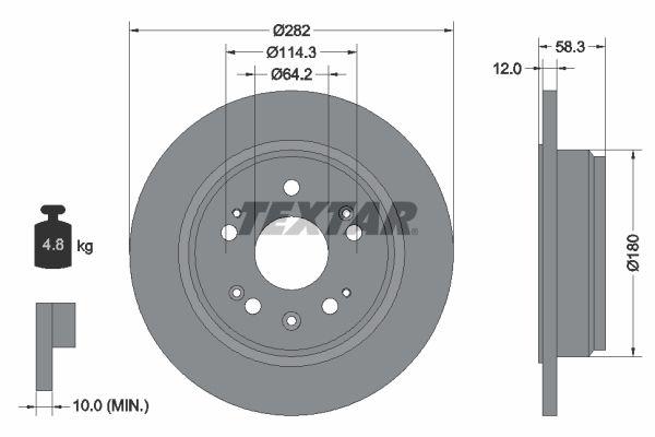 TEXTAR  92144500 Bremsscheibe Bremsscheibendicke: 12mm, Ø: 282mm