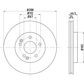 Bremsscheibe Bremsscheibendicke: 25,0mm, Ø: 288mm mit OEM-Nummer A 210 421 2412 64