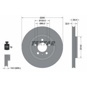 Bremsscheibe Bremsscheibendicke: 22,0mm, Ø: 280mm mit OEM-Nummer JZW615301