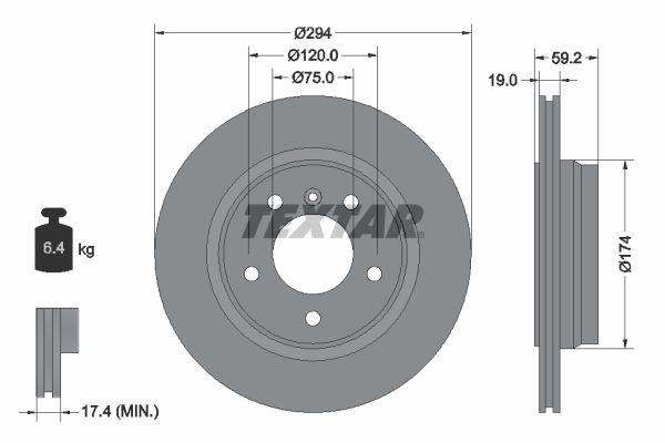 TEXTAR PRO+ 92097305 Bremsscheibe Bremsscheibendicke: 19,0mm, Ø: 294mm