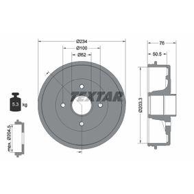 TEXTAR  94026800 Bremstrommel Trommel-Ø: 203,3, Br.Tr.Durchmesser außen: 234,0mm