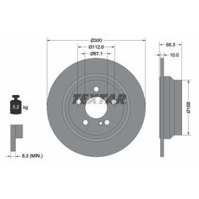 Bremsscheibe Bremsscheibendicke: 10,0mm, Ø: 300mm mit OEM-Nummer A 211 423 07 12
