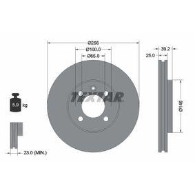 TEXTAR  92128300 Bremsscheibe Bremsscheibendicke: 25,0mm, Ø: 256mm