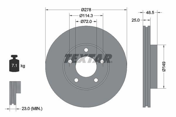 TEXTAR  92130300 Brake Disc Brake Disc Thickness: 25mm, Ø: 278mm