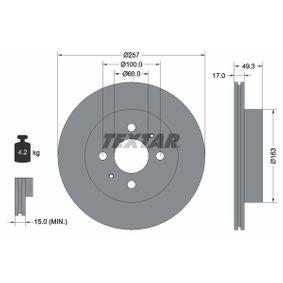 TEXTAR  92131200 Bremsscheibe Bremsscheibendicke: 17,0mm, Ø: 257mm