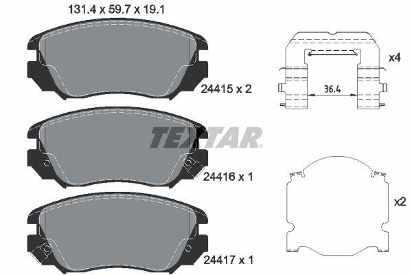 TEXTAR  2441501 Bremsbelagsatz, Scheibenbremse Breite: 131,4mm, Höhe: 59,7mm, Dicke/Stärke: 19,1mm