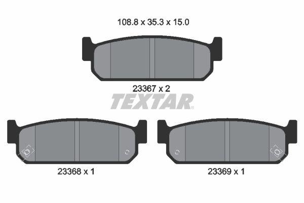 TEXTAR  2336701 Bremsbelagsatz, Scheibenbremse Breite: 108,8mm, Höhe: 35,3mm, Dicke/Stärke: 15mm