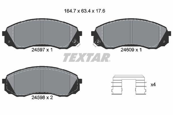 TEXTAR  2459701 Bremsbelagsatz, Scheibenbremse Breite: 164,7mm, Höhe: 63,4mm, Dicke/Stärke: 17,6mm