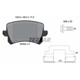 TEXTAR  2448302 Bremsbelagsatz, Scheibenbremse Breite: 105,5mm, Höhe: 56,3mm, Dicke/Stärke: 17,2mm