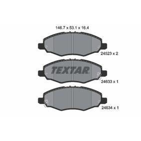 TEXTAR  2452301 Bremsbelagsatz, Scheibenbremse Breite: 146,7mm, Höhe: 53,1mm, Dicke/Stärke: 16,4mm