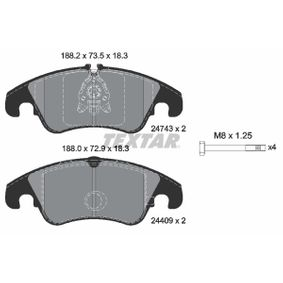 Bremsbelagsatz, Scheibenbremse Breite: 188,2mm, Höhe 1: 72,9mm, Höhe 2: 73,5mm, Dicke/Stärke: 18,7mm mit OEM-Nummer 1 567 730