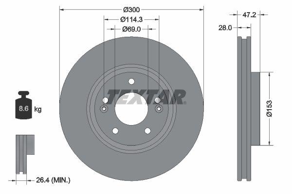 TEXTAR  92166500 Bremsscheibe Bremsscheibendicke: 28,0mm, Ø: 300mm