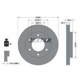 TEXTAR  92167100 Bremsscheibe Bremsscheibendicke: 26,0mm, Ø: 290mm