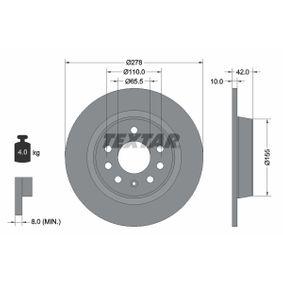 Bremsscheibe Bremsscheibendicke: 10,0mm, Ø: 278mm mit OEM-Nummer 93 18 4247
