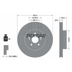 TEXTAR  92167700 Bremsscheibe Bremsscheibendicke: 28,0mm, Ø: 312mm