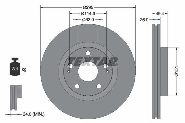 TEXTAR  92168000 Bremsscheibe Bremsscheibendicke: 26mm, Ø: 295mm