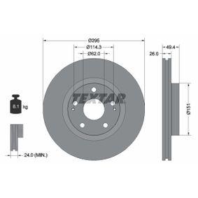 TEXTAR  92168000 Bremsscheibe Bremsscheibendicke: 26,0mm, Ø: 295mm