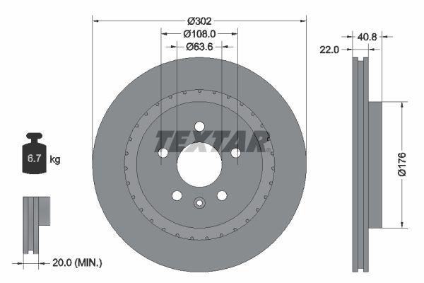 TEXTAR  92168300 Bremsscheibe Bremsscheibendicke: 22mm, Ø: 302mm