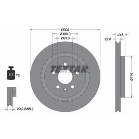 TEXTAR  92168300 Bremsscheibe Bremsscheibendicke: 22,0mm, Ø: 302mm