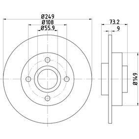 TEXTAR  92168600 Bremsscheibe Bremsscheibendicke: 9,0mm, Ø: 249mm