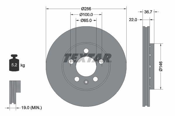 TEXTAR PRO 92082203 Bremsscheibe Bremsscheibendicke: 22mm, Ø: 256mm