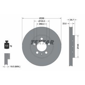 TEXTAR PRO 92082203 Bremsscheibe Bremsscheibendicke: 22,0mm, Ø: 256mm