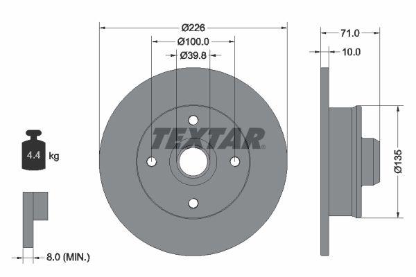 TEXTAR PRO 92041803 Bremsscheibe Bremsscheibendicke: 10mm, Ø: 226mm