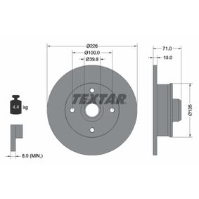 Bremsscheibe Bremsscheibendicke: 10mm, Ø: 226mm mit OEM-Nummer 6N0 615 601