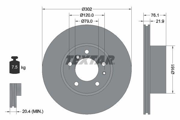 TEXTAR PRO 92042203 Bremsscheibe Bremsscheibendicke: 21,9mm, Ø: 302mm