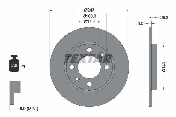 TEXTAR PRO 92055003 Bremsscheibe Bremsscheibendicke: 8mm, Ø: 247mm