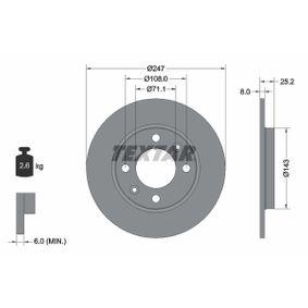 TEXTAR PRO 92055003 Bremsscheibe Bremsscheibendicke: 8,0mm, Ø: 247mm