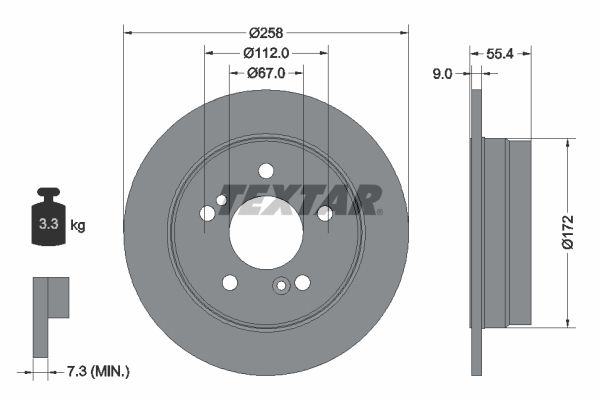TEXTAR PRO 92059503 Bremsscheibe Bremsscheibendicke: 9,0mm, Ø: 259mm