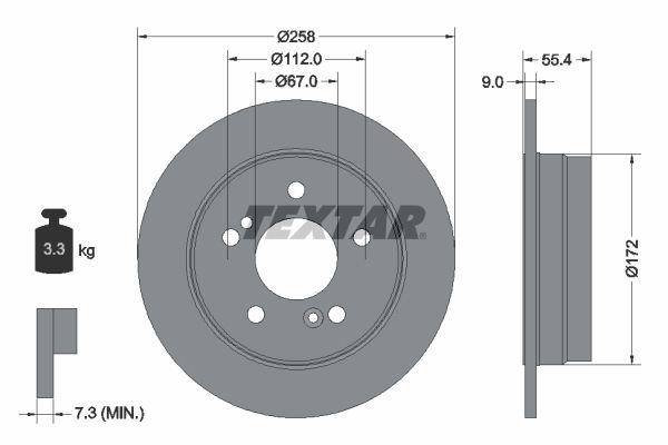 TEXTAR PRO 92059503 Bremsscheibe Bremsscheibendicke: 9mm, Ø: 259mm