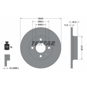 Disco freno (92061103) per per Indicatore Direzione Laterale FIAT SEICENTO (187) Elettrica dal Anno 03.2000 30 CV di TEXTAR