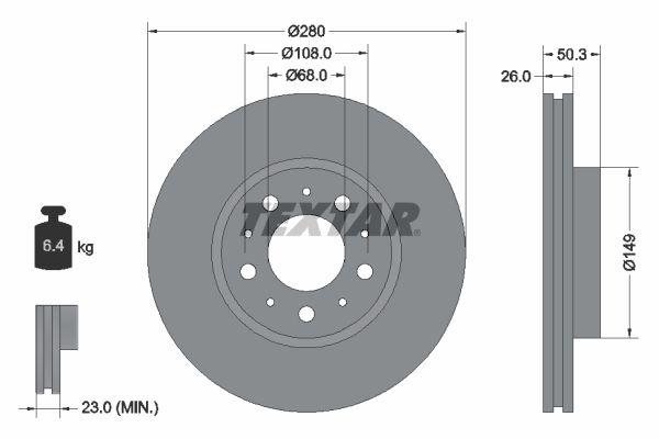 TEXTAR PRO 92066703 Bremsscheibe Bremsscheibendicke: 26mm, Ø: 280mm