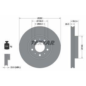 TEXTAR PRO 92066703 Bremsscheibe Bremsscheibendicke: 26,0mm, Ø: 280mm