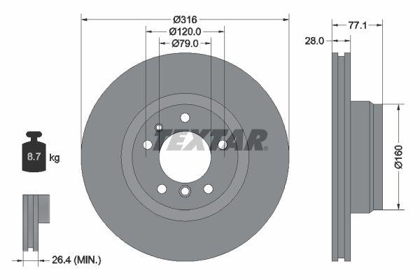 TEXTAR PRO 92071403 Bremsscheibe Bremsscheibendicke: 28mm, Ø: 316mm
