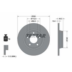 TEXTAR PRO 92071603 Bremsscheibe Bremsscheibendicke: 13,0mm, Ø: 280mm
